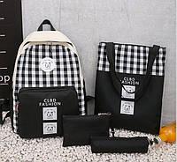 Большой тканевой набор для модных школьниц Рюкзак, сумка, косметичка, пенал