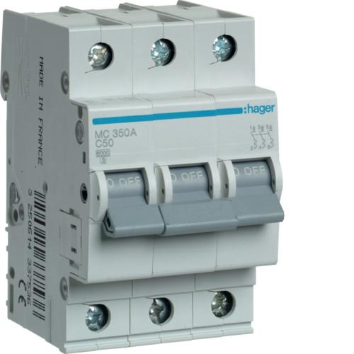 Автоматический выключатель Hager 3P 6kA C-50A 3M (MC350A)