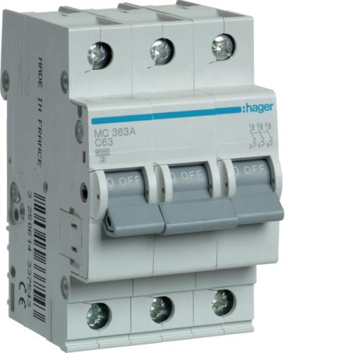 Автоматический выключатель Hager 3P 6kA C-63A 3M (MC363A)
