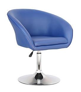 Кресло Мурат мягкое, хромированное, экокожа, цвет синий (Бесплатная доставка)