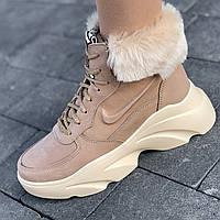 Ботинки женские зимние кожаные бежевые на толстой подошве, на платформе (код 8901)