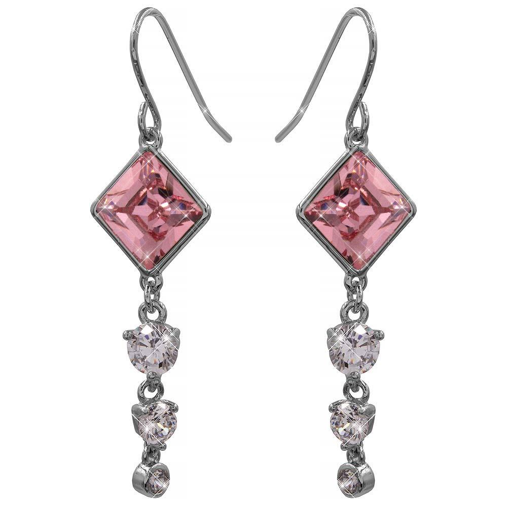 Серьги (крючки) с кристаллами Swarovski Ромбик + 3 камня родиум (Медицинская сталь)