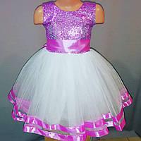Белое с розовой отделкой бальное платье для девочки от 2 до 5 лет, фото 1