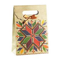 Сумочка подарочная Gift Bag Velcro Рушнык Украинская вышивка 27х19х9 см Натуральный (13643)