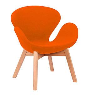 Кресло Сван Вуд Армз, ножки дерево бук, ткань, цвет оранжевый