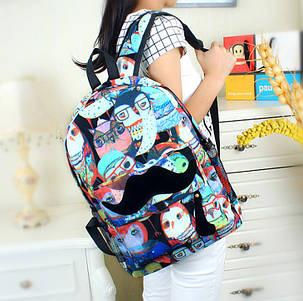 Стильный рюкзак с притом Сова и усами, фото 2