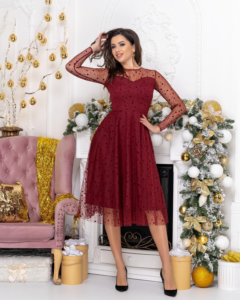 """Нарядное комбинированное миди-платье """"Kaila"""" с расклешенной юбкой (2 цвета)"""