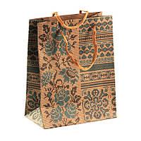Сумочка подарочная Gift Bag Velcro Рушнык Украинская вышивка 14х11,5х6 см Натуральный (13645)
