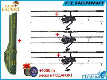 Набор для ловли карпа. Удилища Carp Hunter + Катушки Flagman с бейтранером 6000 + Чехол для удилищ с катушками