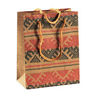 Сумочка подарочная Gift Bag Velcro Рушнык Украинская вышивка 14х11,5х6 см Натуральный (13646)