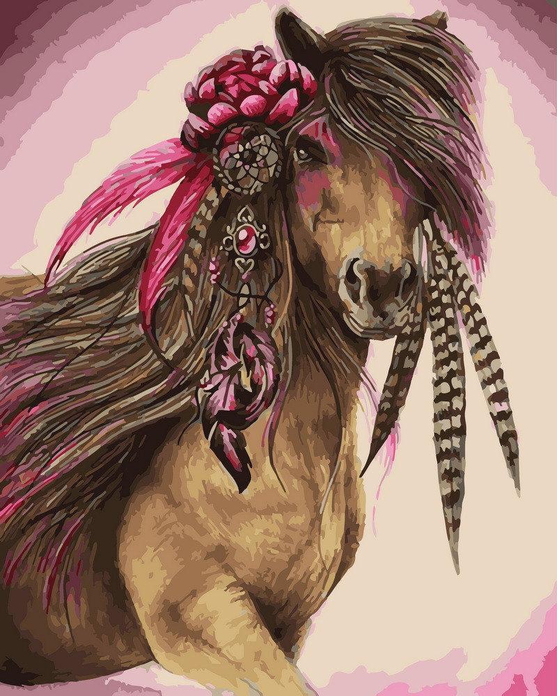 Рисование по номерам Лошадь с цветком GX28154 Rainbow Art 40 х 50 см (без коробки)