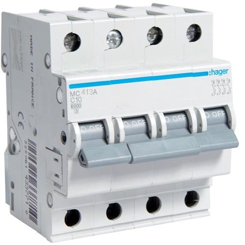 Автоматический выключатель Hager 4P 6kA C-13A 4M (MC413A)