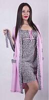 Ночная сорочка с халатом для беременных и кормящих мам 42-56 р леопардовый принт