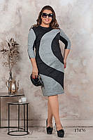 Большое ангоровое платье серое с черным, фото 1
