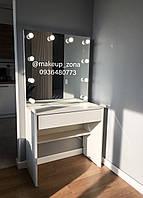 Стол для макияжа визажиста гримерное зеркало с подсветкой 80 см безрамочное
