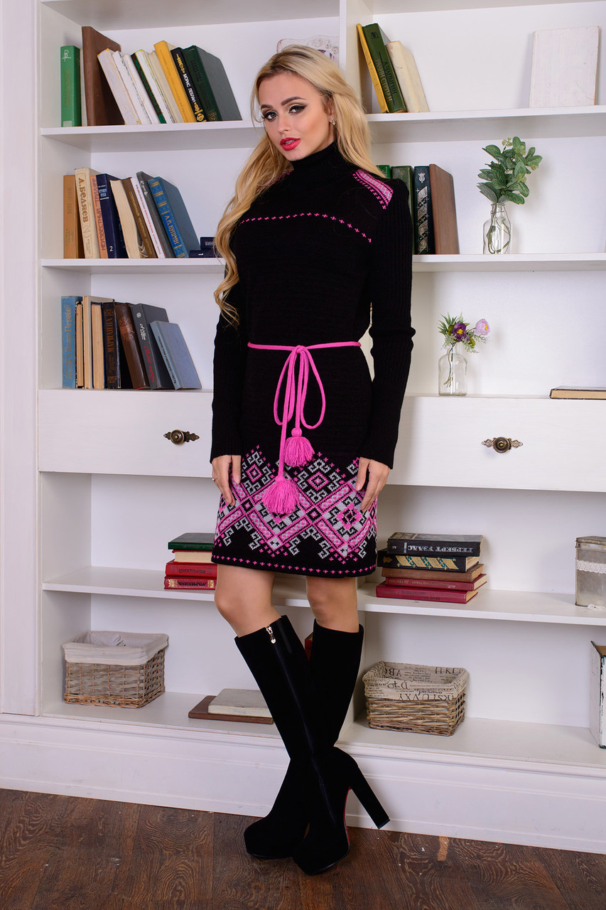 Тепла в'язана сукня Іванка (чорний, рожевий)
