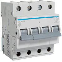 Автоматический выключатель Hager 4P 6kA C-63A 4M (MC463A)
