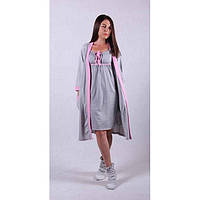 Ночная сорочка с халатом серого цвета  для беременных и кормящих мам 42-56 р