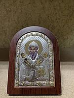 Икона Святой Спиридон AGIO SILVER (Греция) Серебряная с позолотой 57 х 75 мм