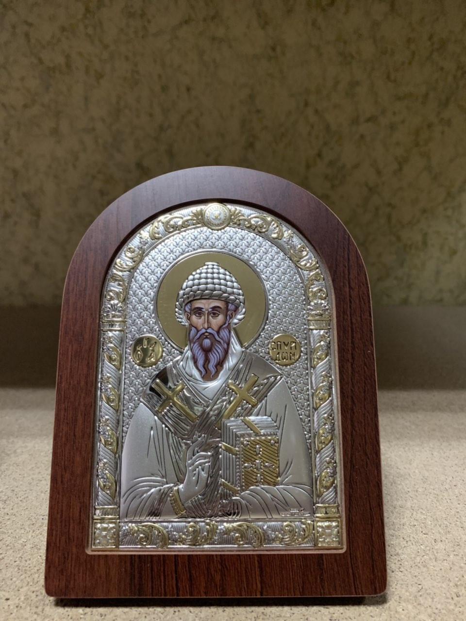 Икона Святой Спиридон AGIO SILVER (Греция) Серебряная с позолотой 75 х 103 мм