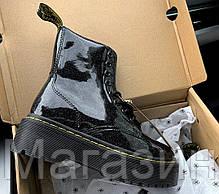 Зимние женские ботинки Dr. Martens Jadon Galaxy Black FUR лакированые Доктор Мартинс Жадон черные С МЕХОМ, фото 2