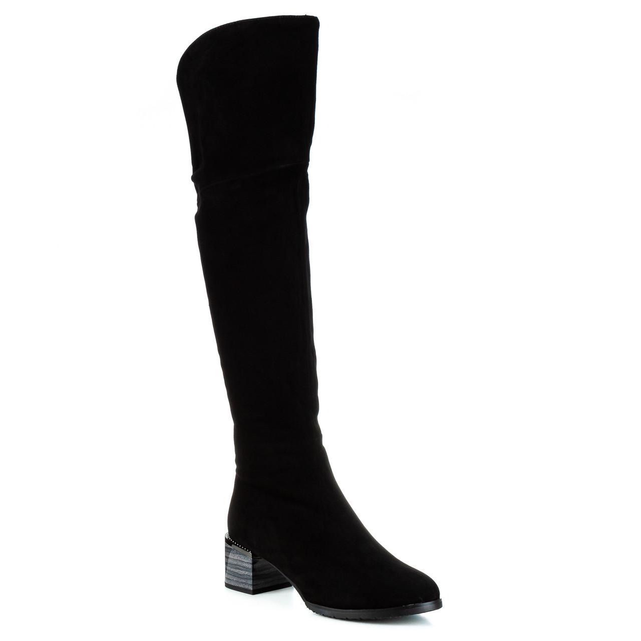 Ботфорты женские SUFINNA (замшевые, стильные, на модном каблуке, натуральные)