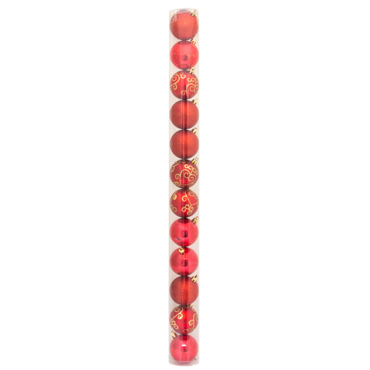 Набор елочных игрушек - шары в тубе, 12 шт, D6 см, красный, микс, пластик (030200-3)