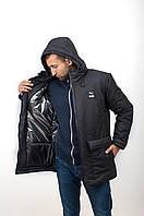 ТОП! Парка мужская зимняя спортивная до -30*С Puma черная   куртка удлиненная