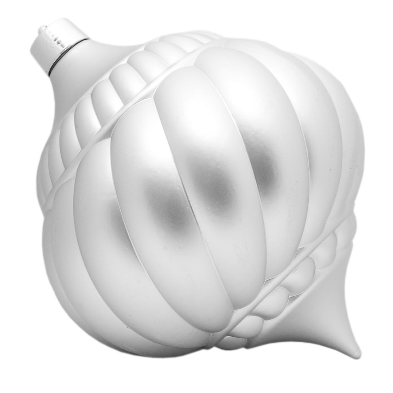 Большая елочная игрушка - тыква, 30 см, пластик, серебристый (030545-1)