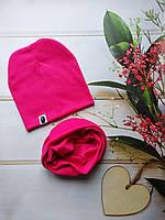Детские однотонные наборы шапка+хомут