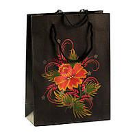 Сумочка подарочная Gift Bag Native Традиционная Украинская Роспись Бумага 20х15х6 см Чёрный (13648)
