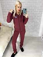 Женский спортивный костюм Fila из трехнити на флисе, с манжетами, карманами, капюшоном (42-48)