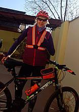 Світловідбиваючий жилет сигнальний (підтяжки) помаранчевий універсальний для мото, вело, активного відпочинку