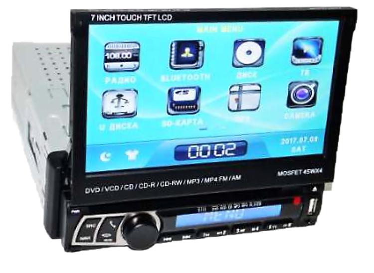 Автомагнитола 1DIN DVD-712 с выездным экраном, MP5 (с экраном, без диска)