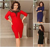Р 42-58 Ошатне облягаючу сукню з декором Батал 20576-1, фото 1
