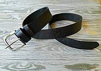 Кожаный ремень мужской черный классический для джинсов с тиснением бизоны ручной работы кожа