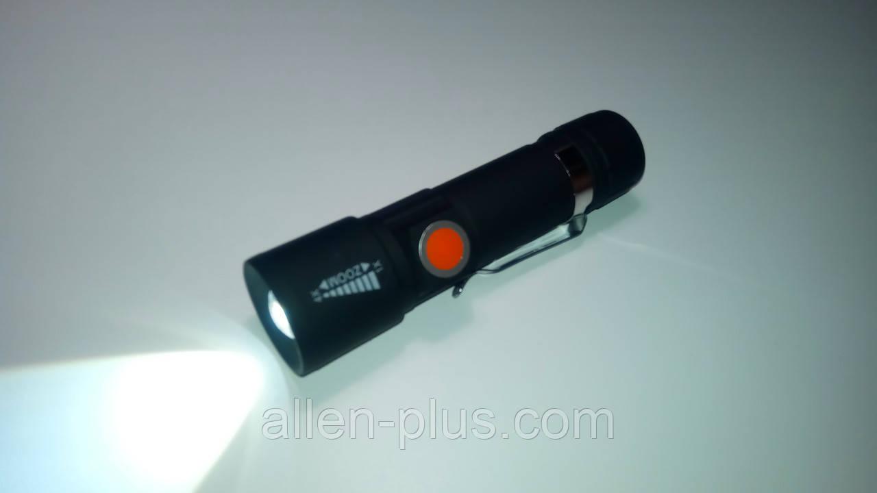 Фонарь компактный Police / Bailong BL-416-XPE, акумулятор 18650, зарядка от USB, zoom
