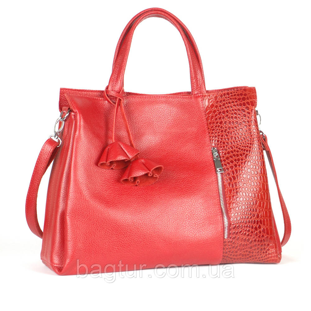 Кожаная сумка женская 38 красный кайман/флотар 013801-0207