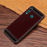 Чехол Litchi для Honor 9X силикон бампер с рифленой текстурой темно-коричневый