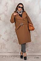Большое кашемировое пальто без подкладки горчица, фото 1