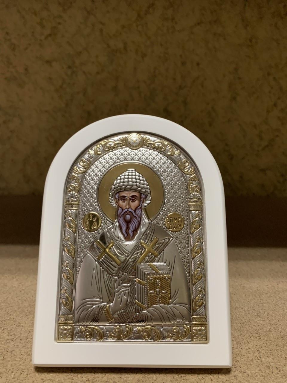 Икона Святой Спиридон AGIO SILVER (Греция) Серебряная с позолотой в белом цвете 120 х 160 мм