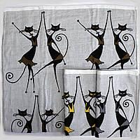 Качественное полотенце банное 100% хлопок с котами