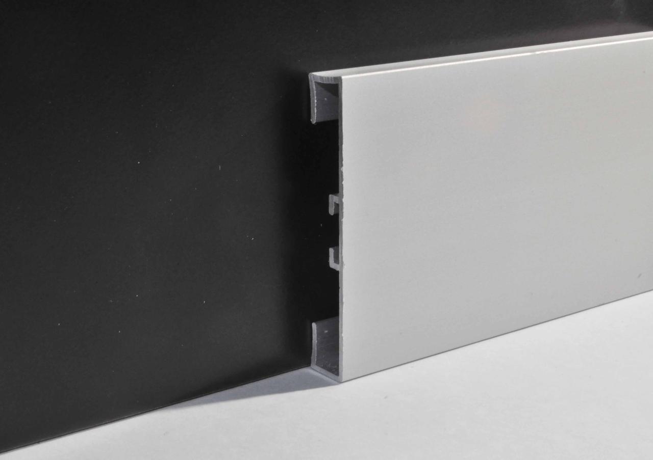 Квадратный алюминиевый плинтус накладной Profilpas 60 мм анодированный 2000 мм 89/613
