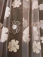 """Красивая тюль печатка """"Ромашковое настроение"""" с люрексовым напылением и плотным низом, фото 1"""