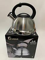 Чайник со свистком из нержавеющей стали GLOBALIS на 3 литра (от 4 шт), фото 1
