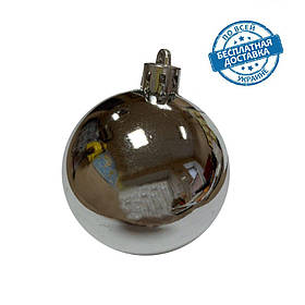 Новорічні пластикові блискучі кульки на ялинку срібного кольору діаметр 6 см Ялинкові кулі срібло