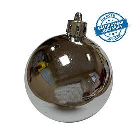 Новорічні пластикові блискучі кульки на ялинку срібного кольору діаметр 8 см Ялинкові кулі срібло