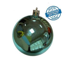 Новорічні пластикові блискучі кульки на ялинку бірюзового кольору діаметр 8 см Ялинкові кулі бірюзові