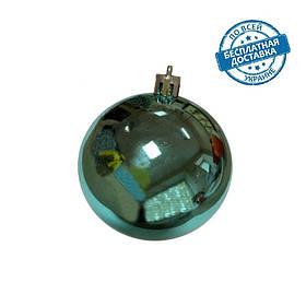 Новорічні пластикові блискучі кульки на ялинку бірюзового кольору діаметр 6 см Ялинкові кулі бірюзові