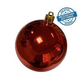 Новорічні пластикові блискучі кульки на ялинку червоного кольору діаметр 8 см Ялинкові кулі червоні глянцеві